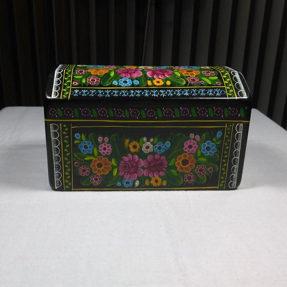 "MEXICAN WOOD JEWELRY BOX  HANDPAINTED ""NWOT"""